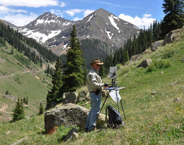 Dan Young painting mountains easel oil painting plein air