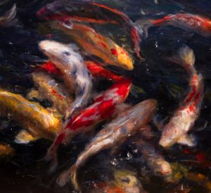 Derek penix swirling coi fish oil painting