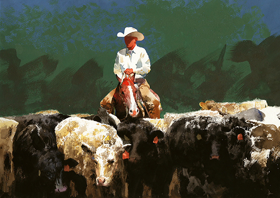 don weller quietly among the cows watercolor painting cowboy horse cows western southwest art magazine