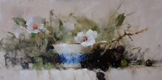 Jean Chambers Cup With Grapes and flowers still life oil painting floral flower still-life