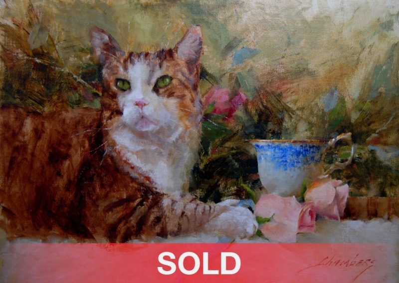 Jean Chambers Posing With Still-life cat flowers oil painting