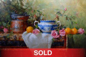 jean chambers yogurt pot and roses stillife oil painting