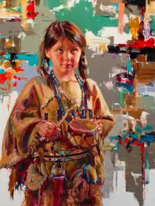 jeremy windborg the youngest drummer native american indian girl oil painting