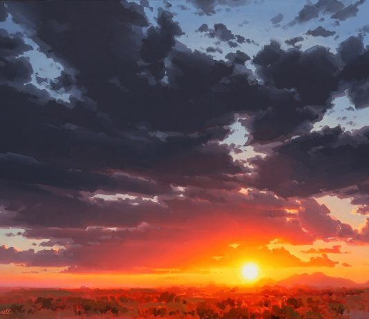 Jessica Garrett blinding beauty landscape glowy sky moody clouds oil painting