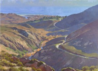 John Cosby Malibu Canyon landscape ocean oil painting