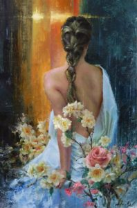 kyle stuckey in the light figure woman flowers oil painting