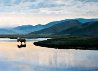 """Lanford Monroe """"Reverie"""" moose wildlife lake mountains high mountain oil painting"""