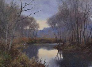 lanford monroe oil wildlife trees stream lake painting