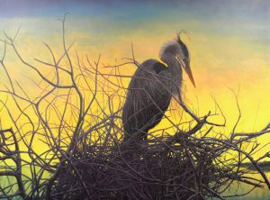 mary cornish nest bird egret oil painting sunrise sunset