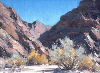 matt smith the mojave desert wash landscape oil painting cacti