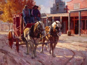 meadow gist all the world is a stage stagecoach cowboys horses oil painting