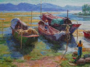 ned mueller lake eri yunnan china boat lake mountain oil painting