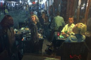 paul cheng bistros light interior building people at tables oil painter interior