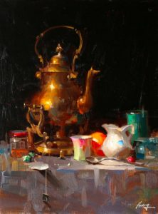 qiang huang present moment copper pot pottery still life oil painting