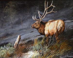 trevor swanson indomitable elk wildlife oil painting
