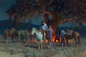 bill anton who's got the cards cowboys horses firelight campfire night scene oil western painting