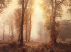 brent cotton under the tall cottonwoods trees misty light landscape oil painting