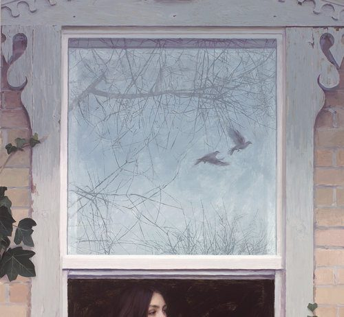 casey childs take these broken wings woman sitting on window sill birds reflected in window figurative female oil painting portrait gold medal winner
