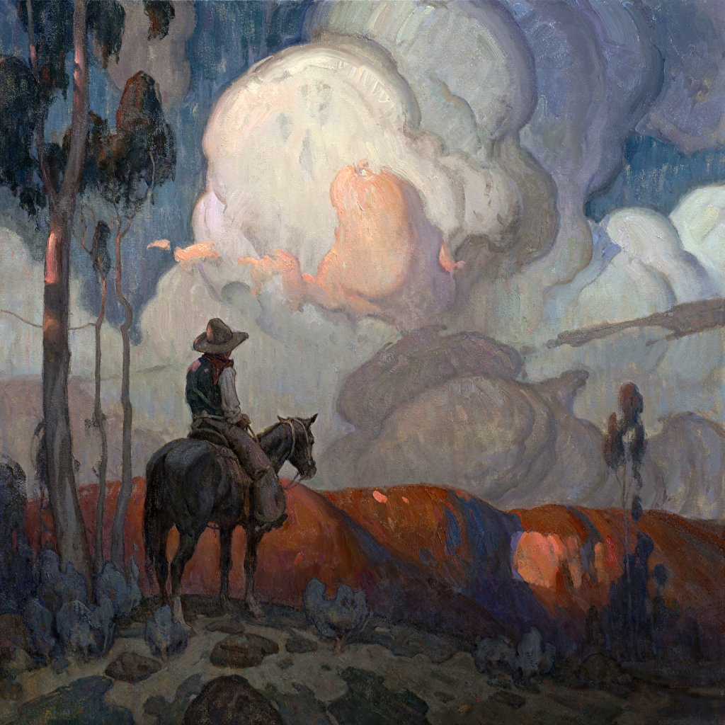 eric bowman picture show cowboy horse horseback cloudy sky western oil painting