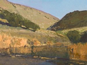 len chmiel jalama creek estuary california coast mountains stream brush landscape oil painting