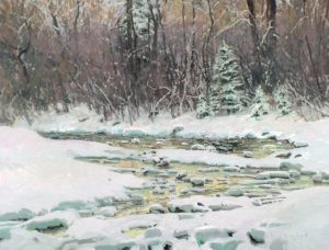 len chmiel may day masquerade snow stream trees landscape oil painting