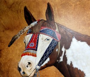 marianne millar good woman native american indian portrait acrylic painting horse head