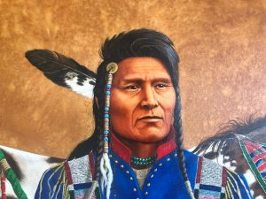 marianne millar thunder rolling over the mountains acrylic painting native american indian portrait