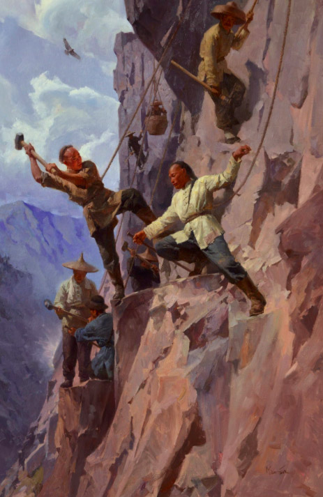 mian situ Blasting A Route Through The Sierra Nevada Mountains, 1865, Central Pacific Railroad Prix de West Award Winner oil painting