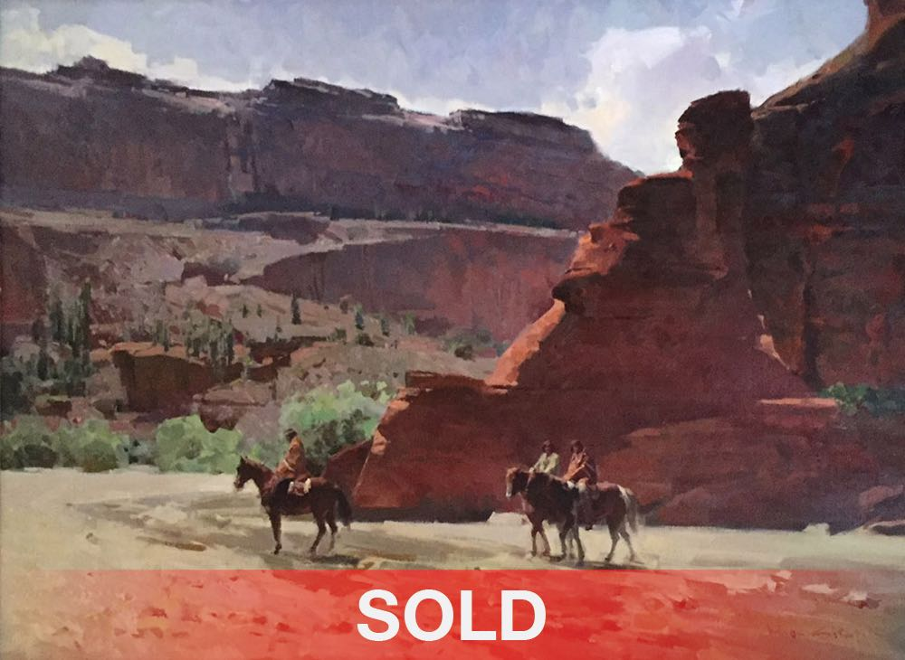 Mian Situ Following The Water Trail Canyon de Chelly western oil painting horses native american indian