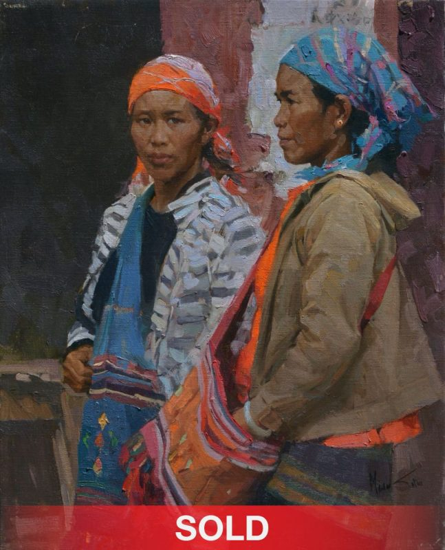 Mian Situ Friendship Asian women Chinese figure figurative oil painting on canvas