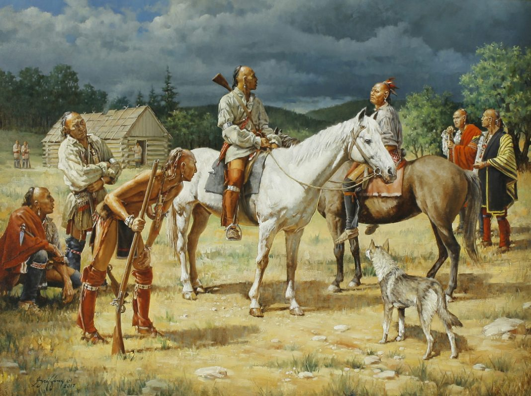 robert Griffing general braddock horse native american indian encampment western oil painting