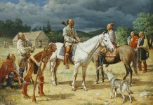 robert Griffing general braddock horse native american indian encampment western oil painting