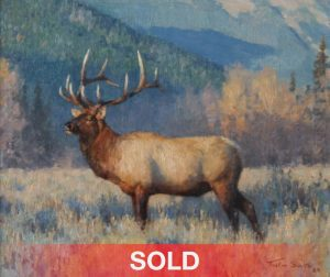Tucker Smith distant bugle elk wildlife landscape oil painting