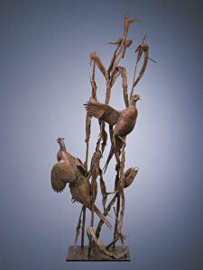 walter matia two for the road game birds tree wildlife bronze sculpture