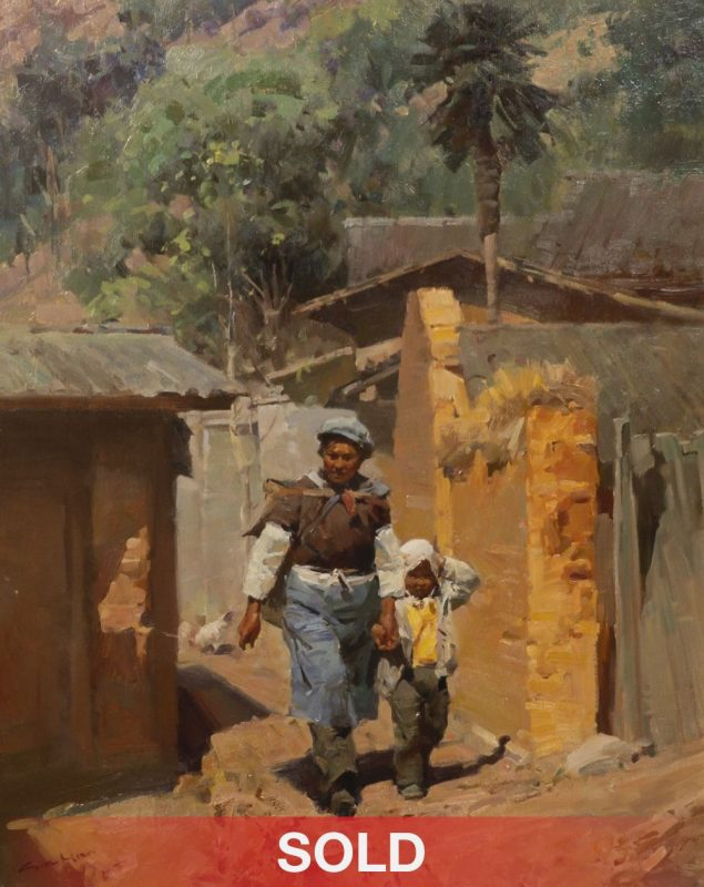 Mian Situ Village Path Asian figure figurative oil painting Chinese