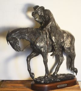 deborah copenhauer fellows it's a rainy day in paradise cowboy on horse riding horse western bronze sculpture