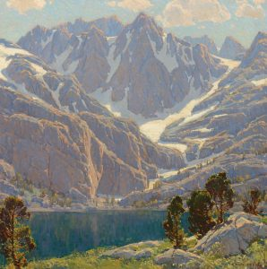 edgar payne solitudes enchantment high mountiain snow capped mountain mountain lake landscape oil painting