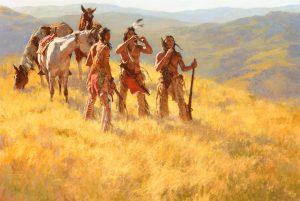howard terpning dust of many ponies native american indian horses rifles western oil painting