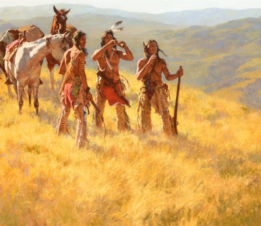 howard terpning dust of many ponies native american indian horses rifles western oil painting