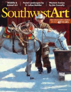 jim connelly cowboy white horse drinking corral southwest art magazine cover western oil painting