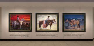 jim connelly colors of freedom triptych cowboy cowgirl American flag horse equine liberty patriotism western oil painting