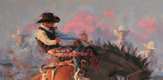 jim connelly determination cowboy bucking horse rodeo action western oil painting