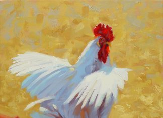Jim Connelly Free Bird rooster farm ranch western oil painting
