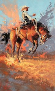jim connelly joy ride cowboy bucking horse rodeo action western oil painting