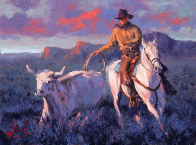Jim Connelly Last Round cowboy horse cattle longhorn rope roping sunset western oil landscape painting