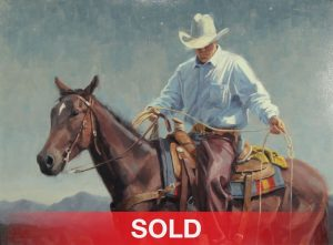 jim connelly lefty cowboy horse horseback western oil painting