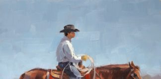 jim connelly made in the shade cowboy on horse equine western oil painting