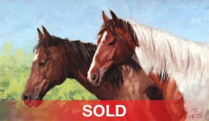 jim connelly peaceable horses equine western oil painting