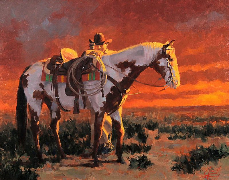 jim connelly sunset cowboy horse open range western oil painting