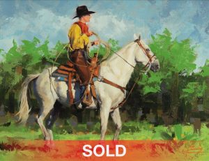 jim connelly yellow shirt cowboy horse horseback western oil painting
